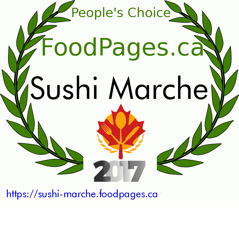 Sushi Marche FoodPages.ca 2017 Award Winner